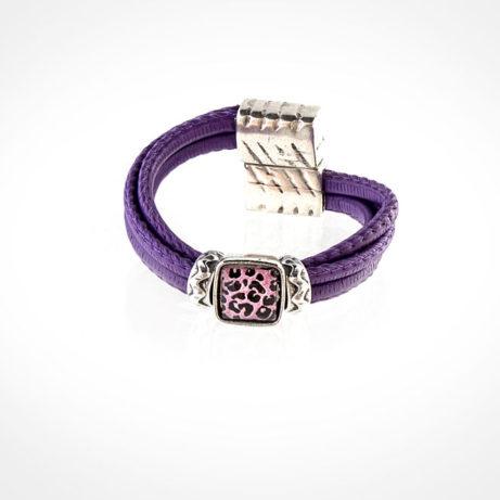 Pulsera cuero malva de leopardo rosa