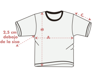 guia de tallas camisetas chica