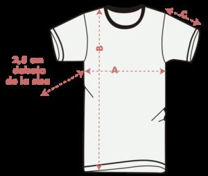 guia de tallas camisetas unisex