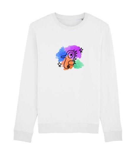 Sudadera blanca de algodón unisex con dibujo de caballito de mar