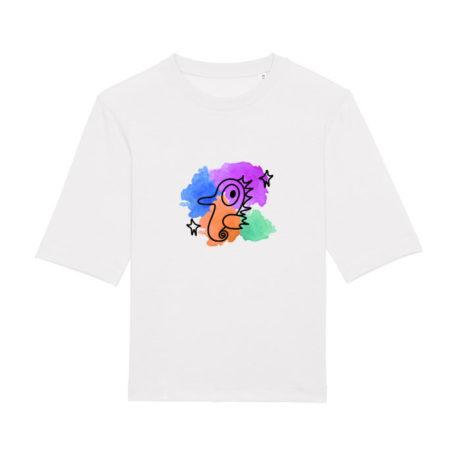 Camiseta blanca de algodón para chica con dibujo de caballito de mar